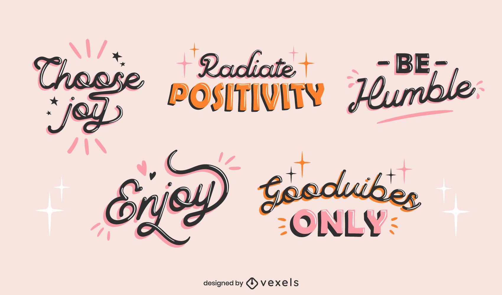 Conjunto de design de letras motivacionais