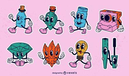 Conjunto de objetos diversos de desenhos animados retrô
