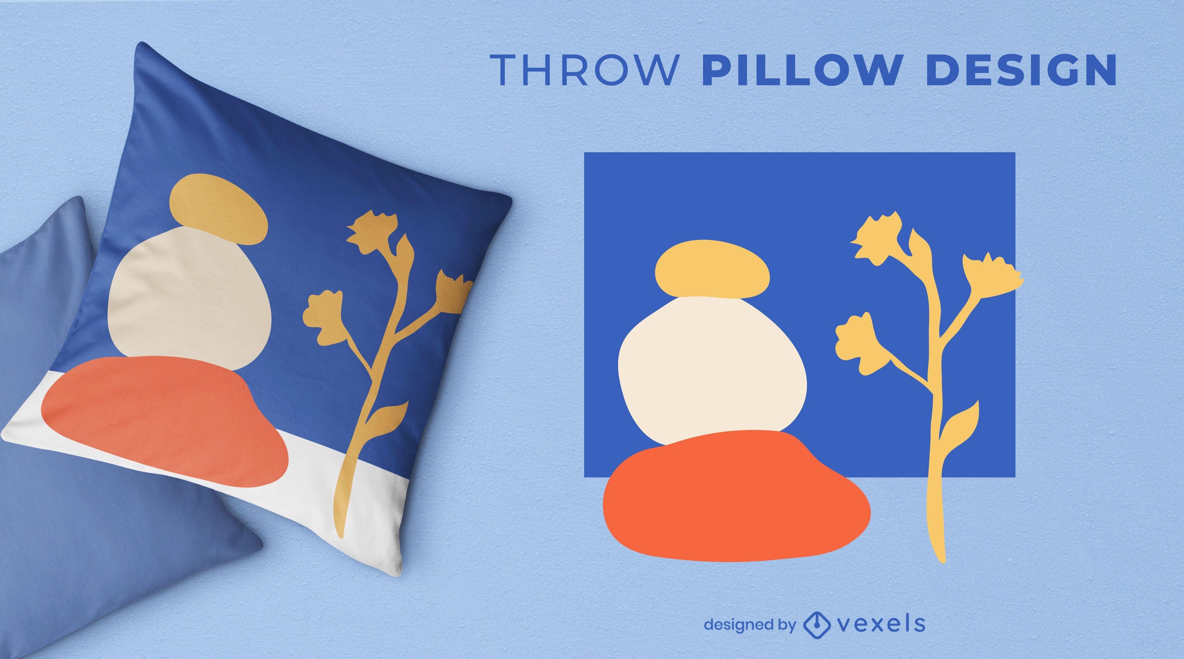 Artistic nature throw pillow design