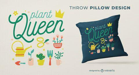 Diseño de almohada de tiro de reina de plantas