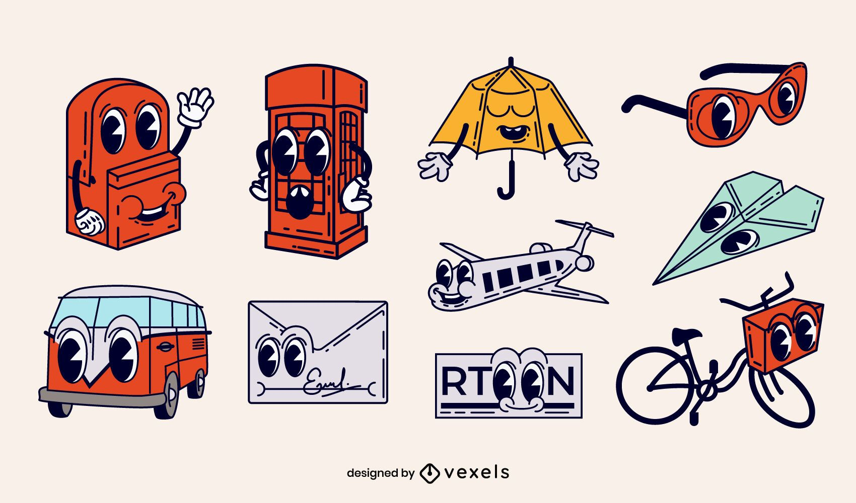 Travel elements retro cartoons set