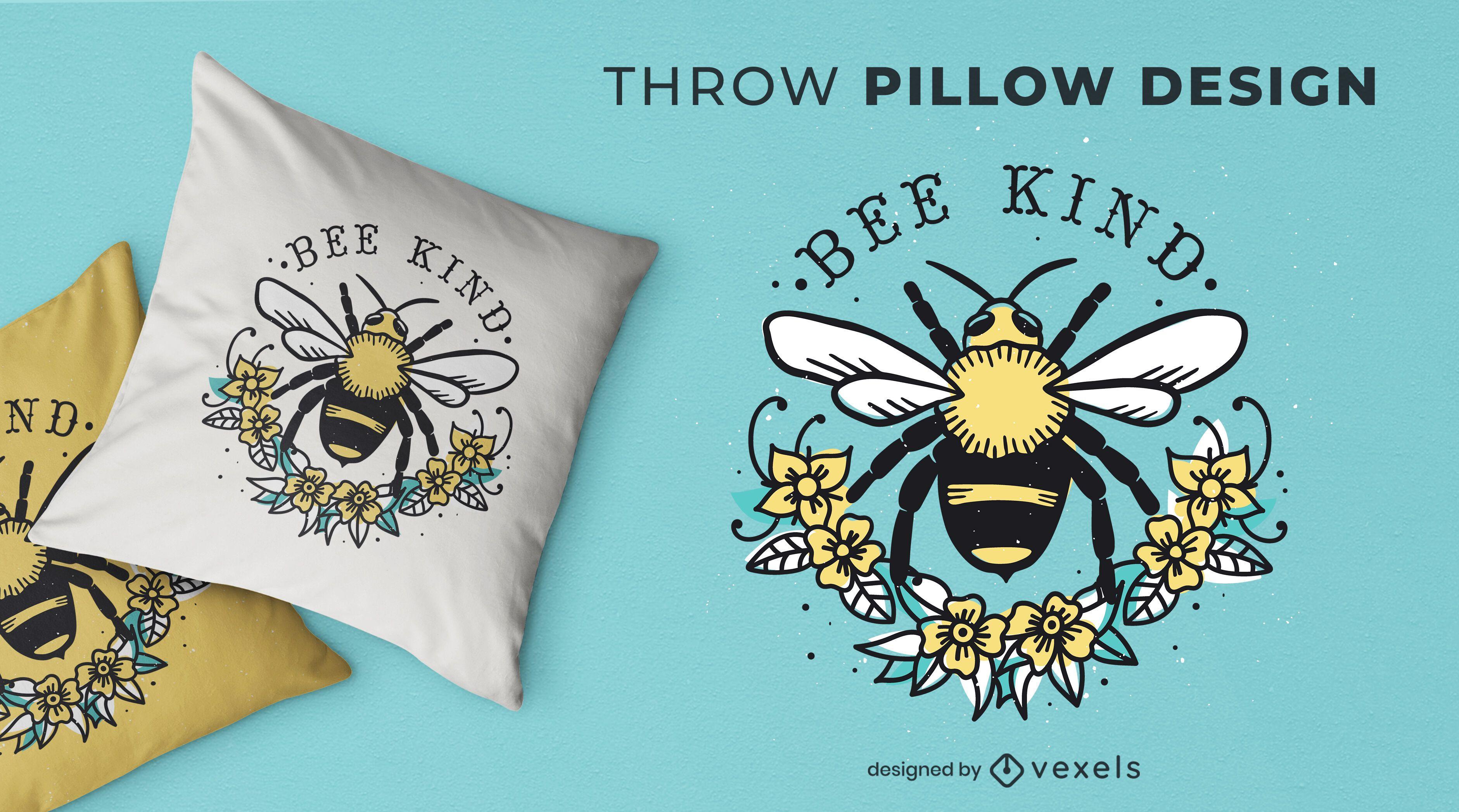 Bee kind throw pillow design