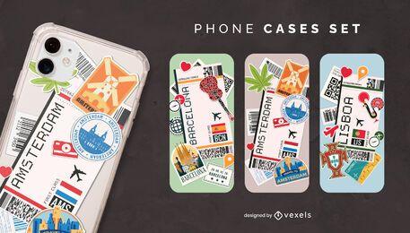 Conjunto de capa de telefone para cartões de embarque