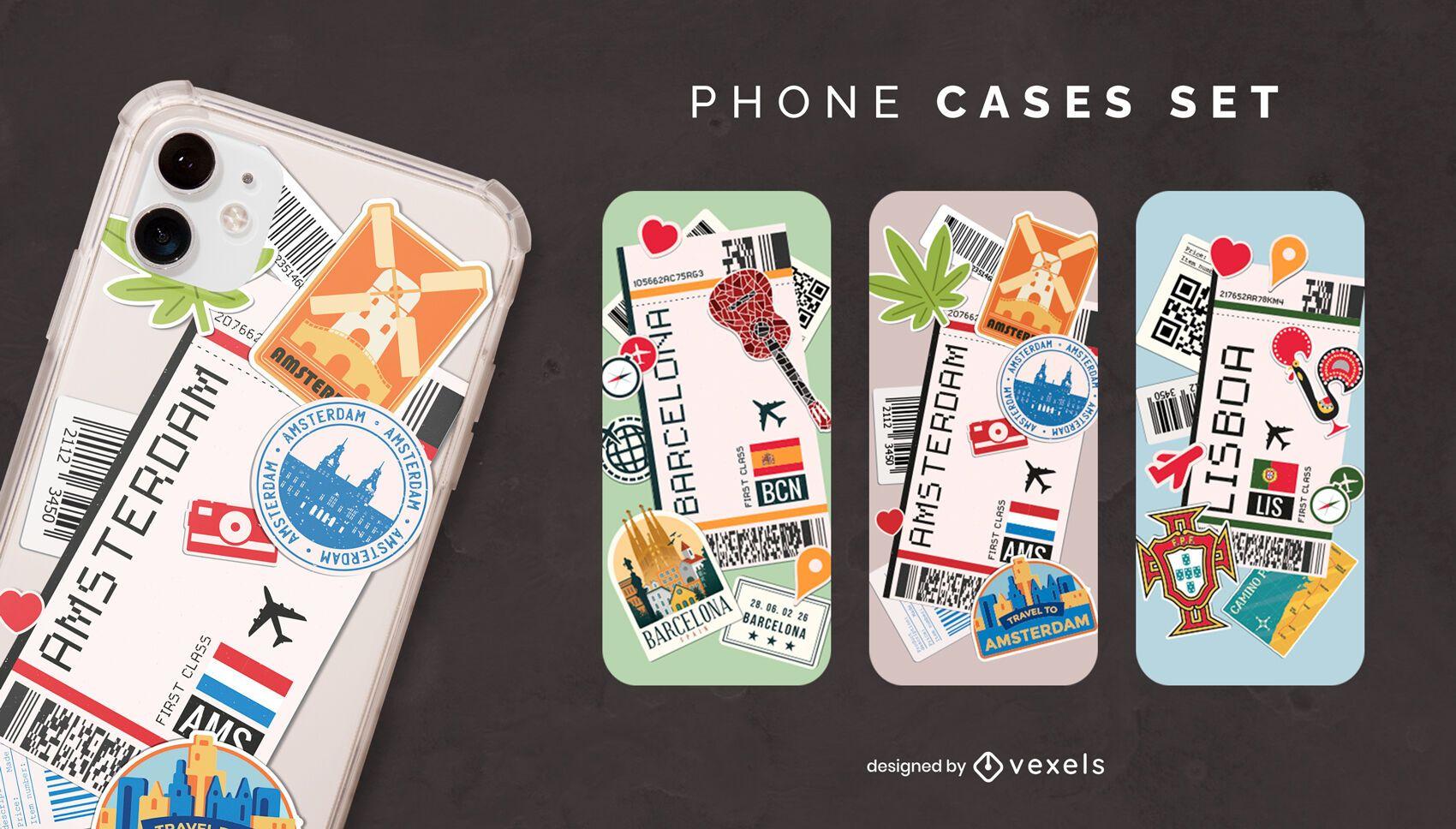 Boarding cards phone case set