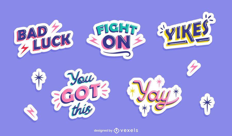 Retro quotes sticker set