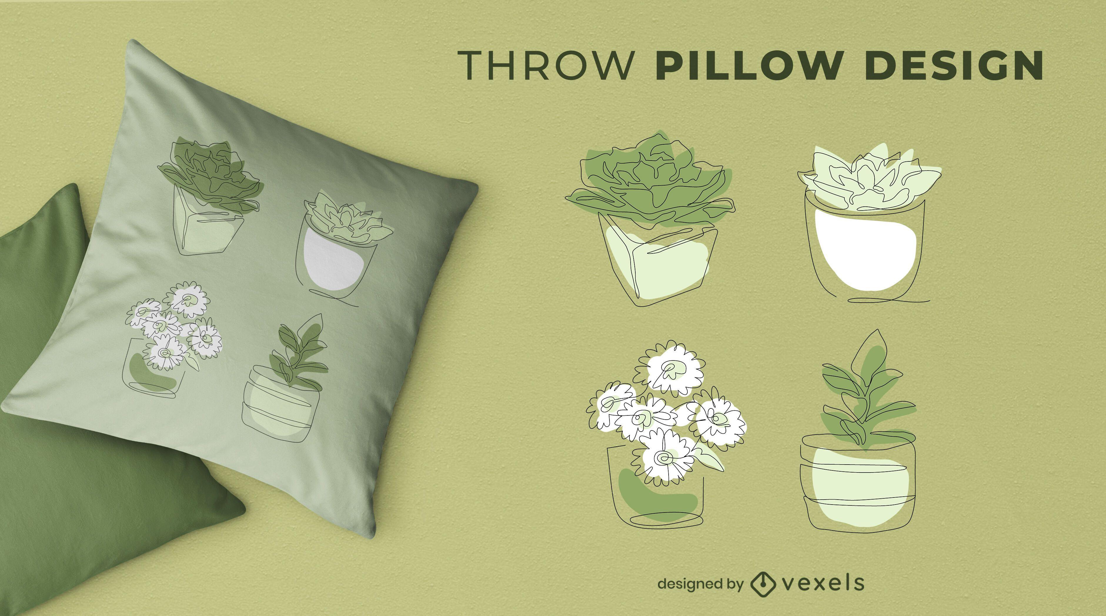 Continuous line plants throw pillow design