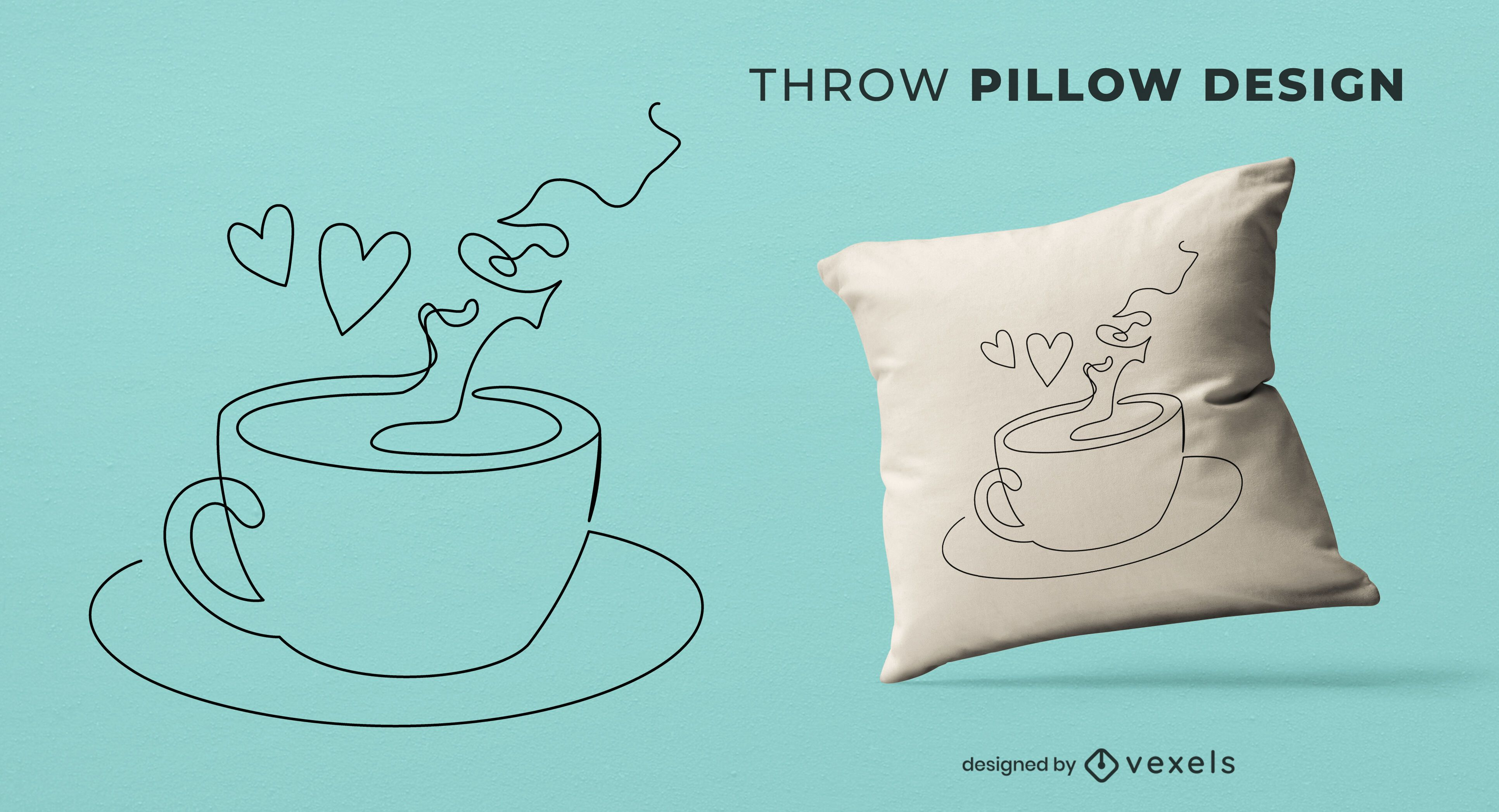 Cup of coffee throw pillow design