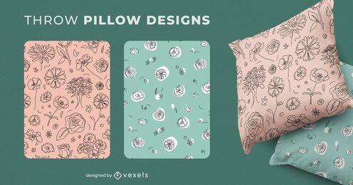 Desenhos de almofadas com flores