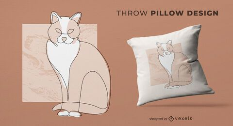 Continuos line cat throw pillow design