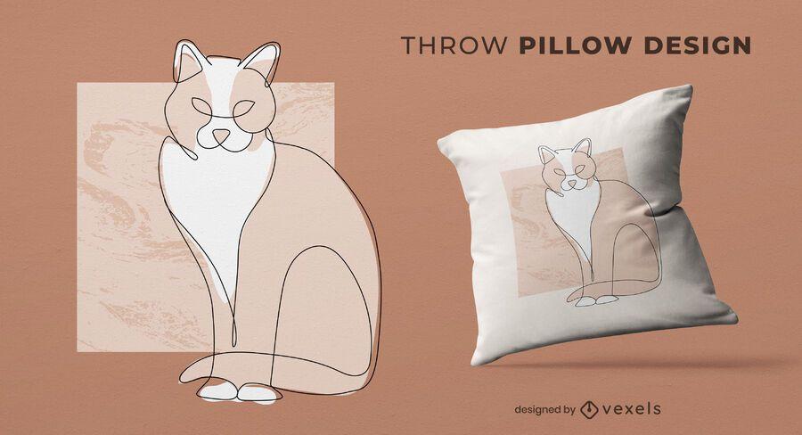 Continuos line cat throw pillow design