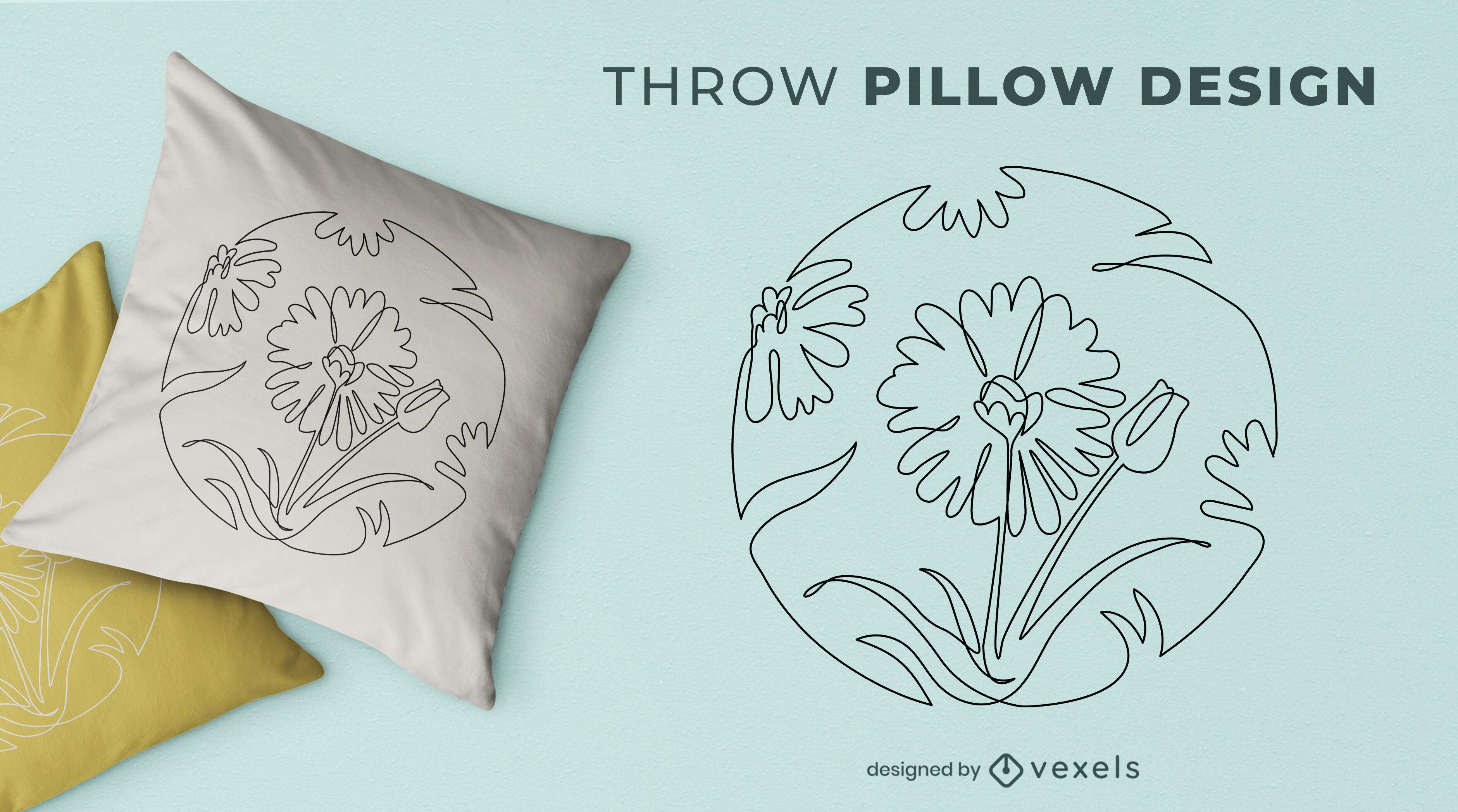 Diseño de almohada de tiro de flores de línea continua