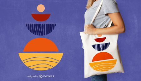 Semicircles tote bag design
