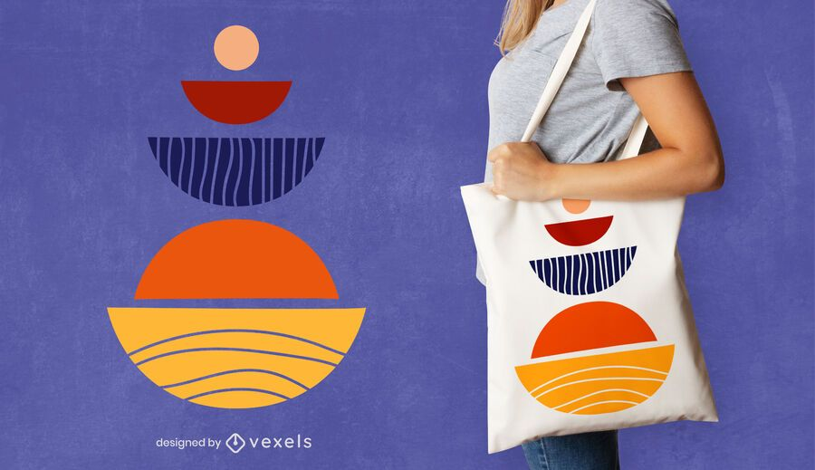 Semicircles tote bag design