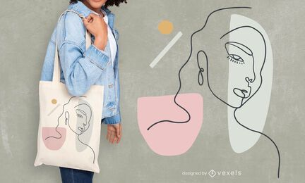 Woman continuous line tote bag design