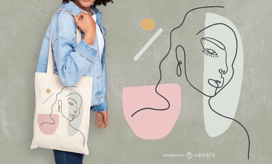 Woman continuous line tote bag design