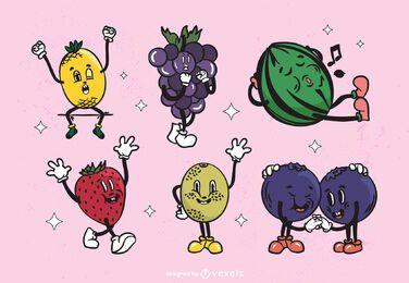 Conjunto de frutas de dibujos animados retro