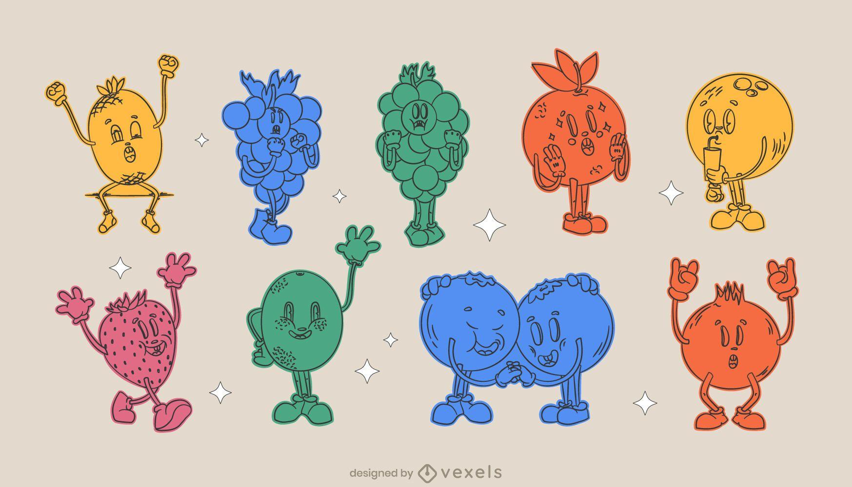 Retro cartoon monochrome fruit set