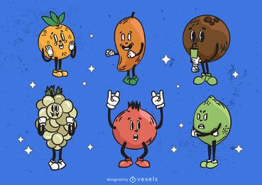 Cartoon fruits retro style set