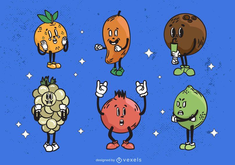 Cartoon fruits retro style set