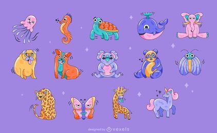 Conjunto de animais de desenho animado
