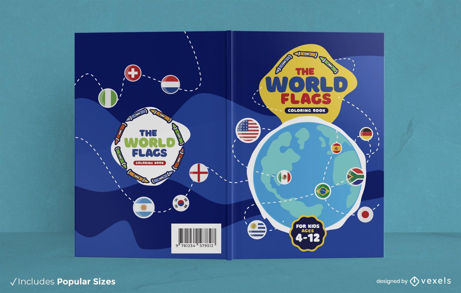 Design da capa do livro bandeiras do mundo