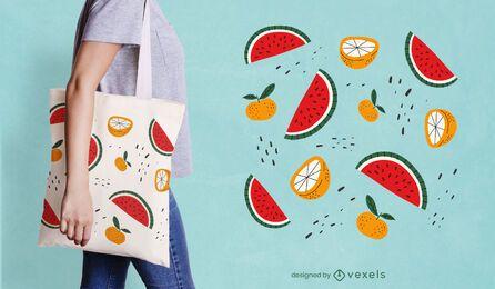 Design de sacola com fatias de frutas