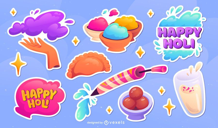 Holi elements sticker set