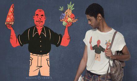 Pizza oder Obst T-Shirt Design