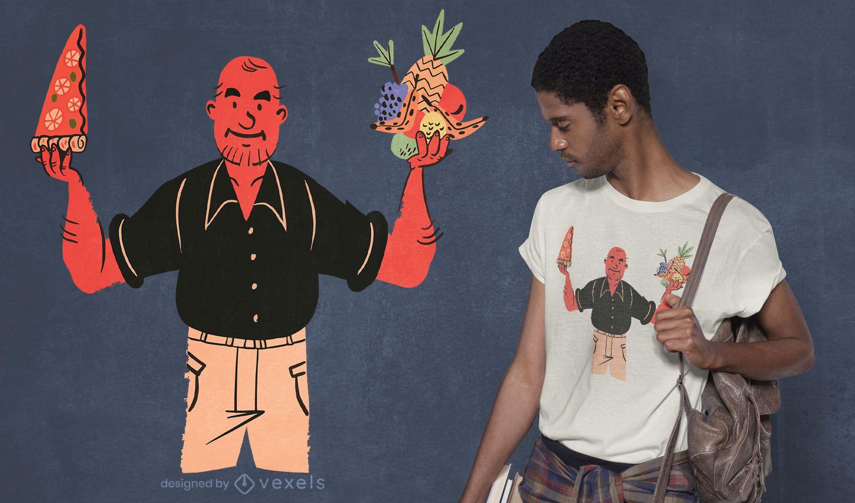 Diseño de camiseta de pizza o fruta.
