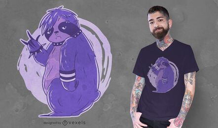 Diseño de camiseta emo perezoso