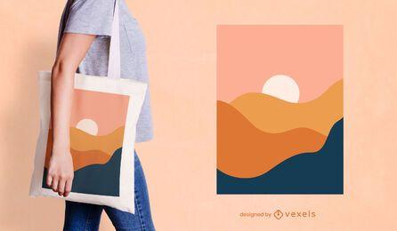 Projeto de sacola com paisagem abstrata