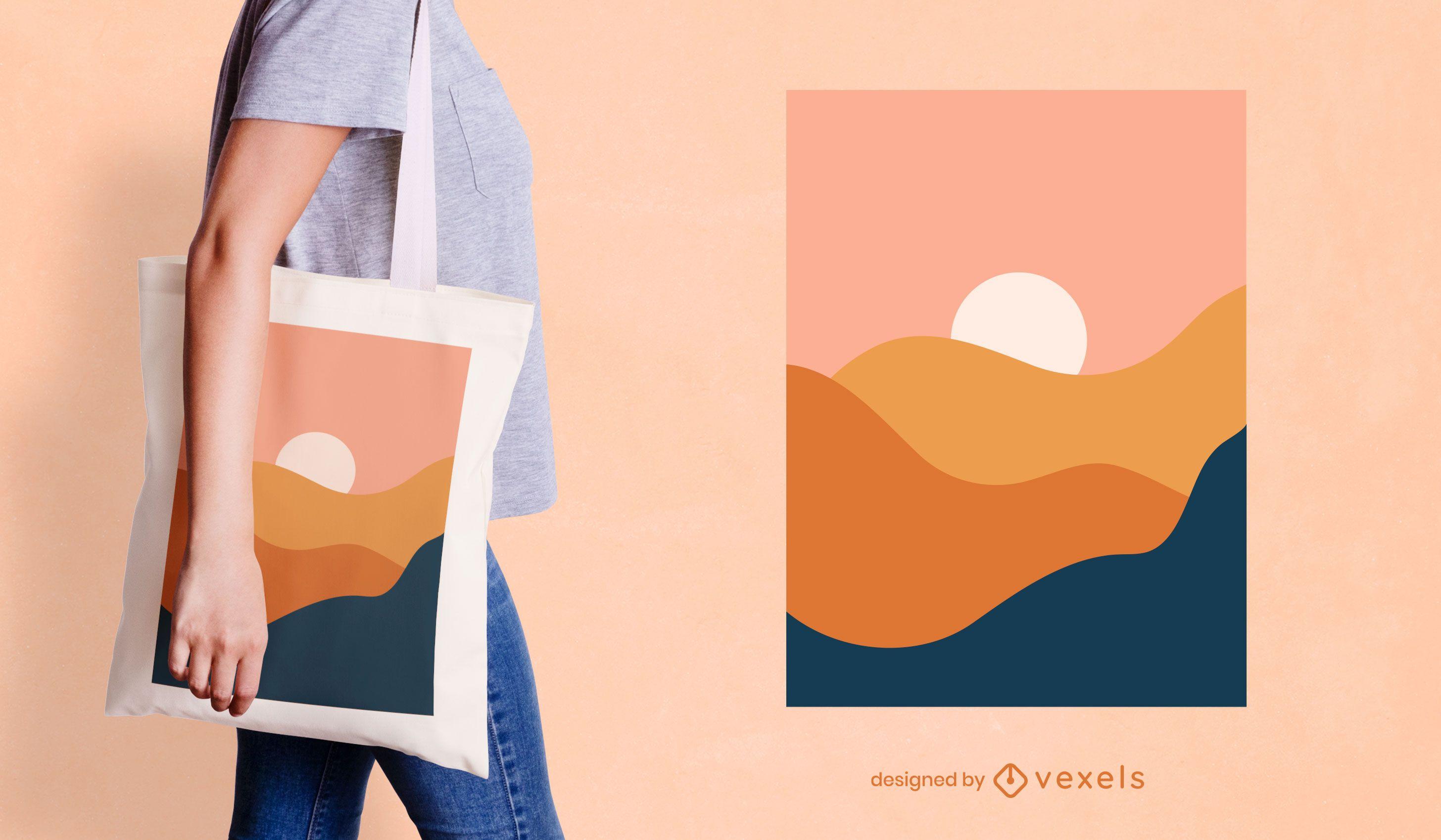 Diseño de bolso de mano de paisaje abstracto