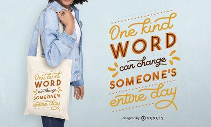 Design de sacola com uma palavra gentil