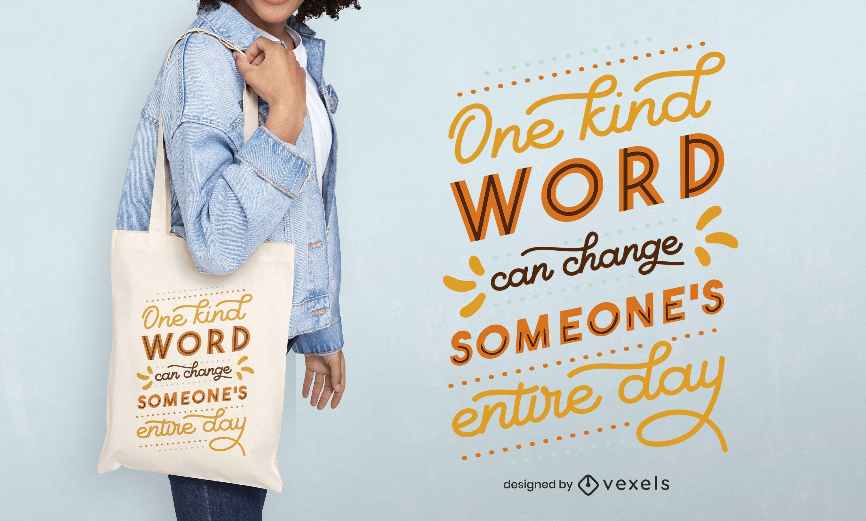 Diseño de bolso de mano con una palabra amable