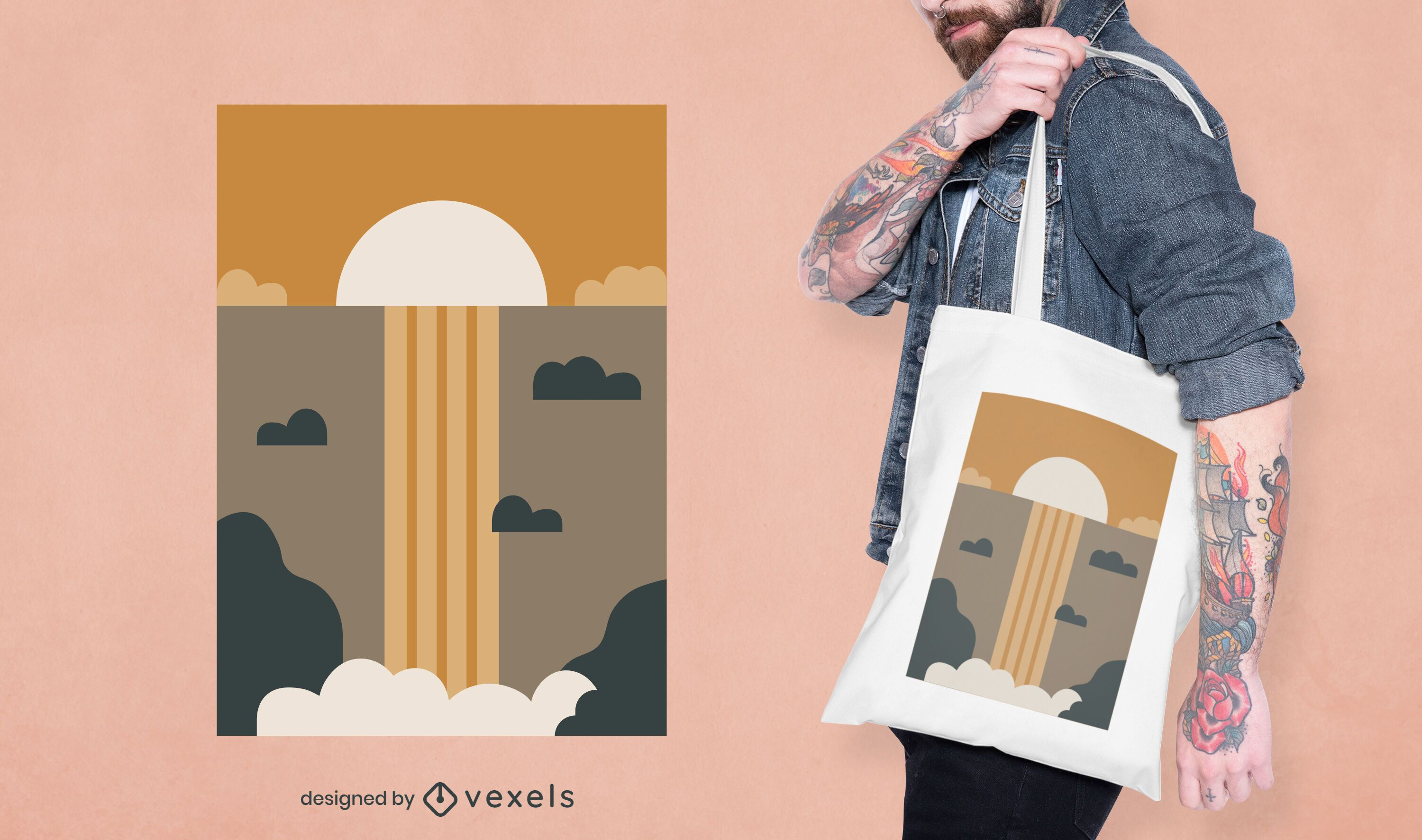 Abstract waterfall tote bag design