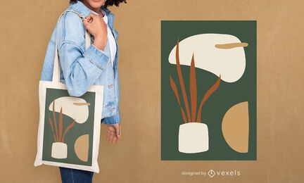 Potted plant tote bag design