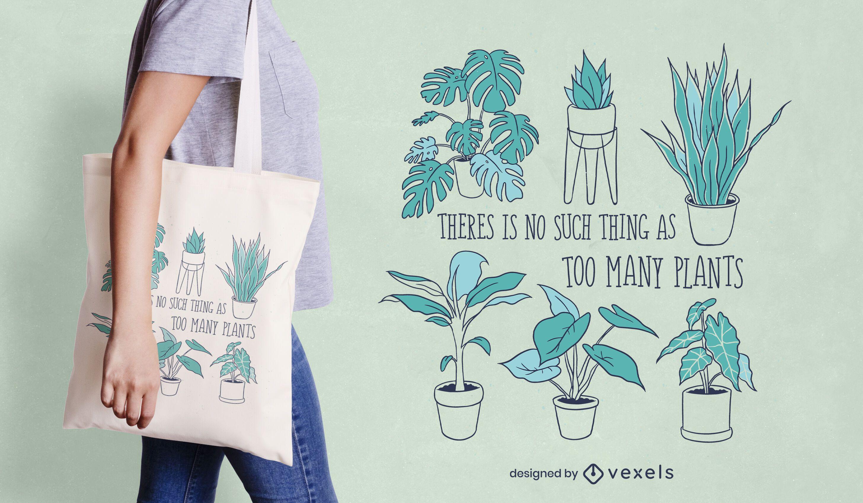 Too many plants tote bag design