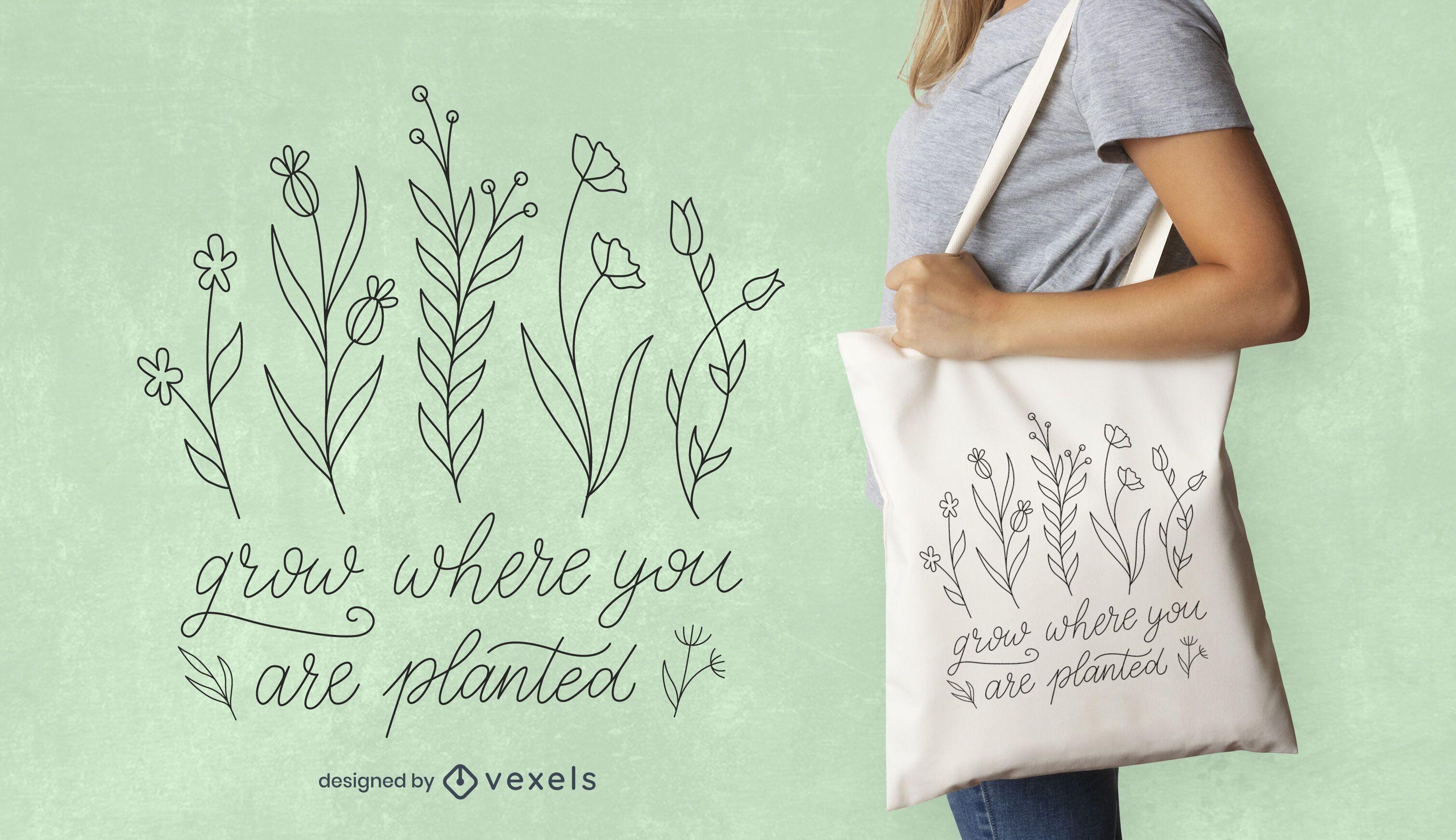 Diseño de bolso de mano Grow quote