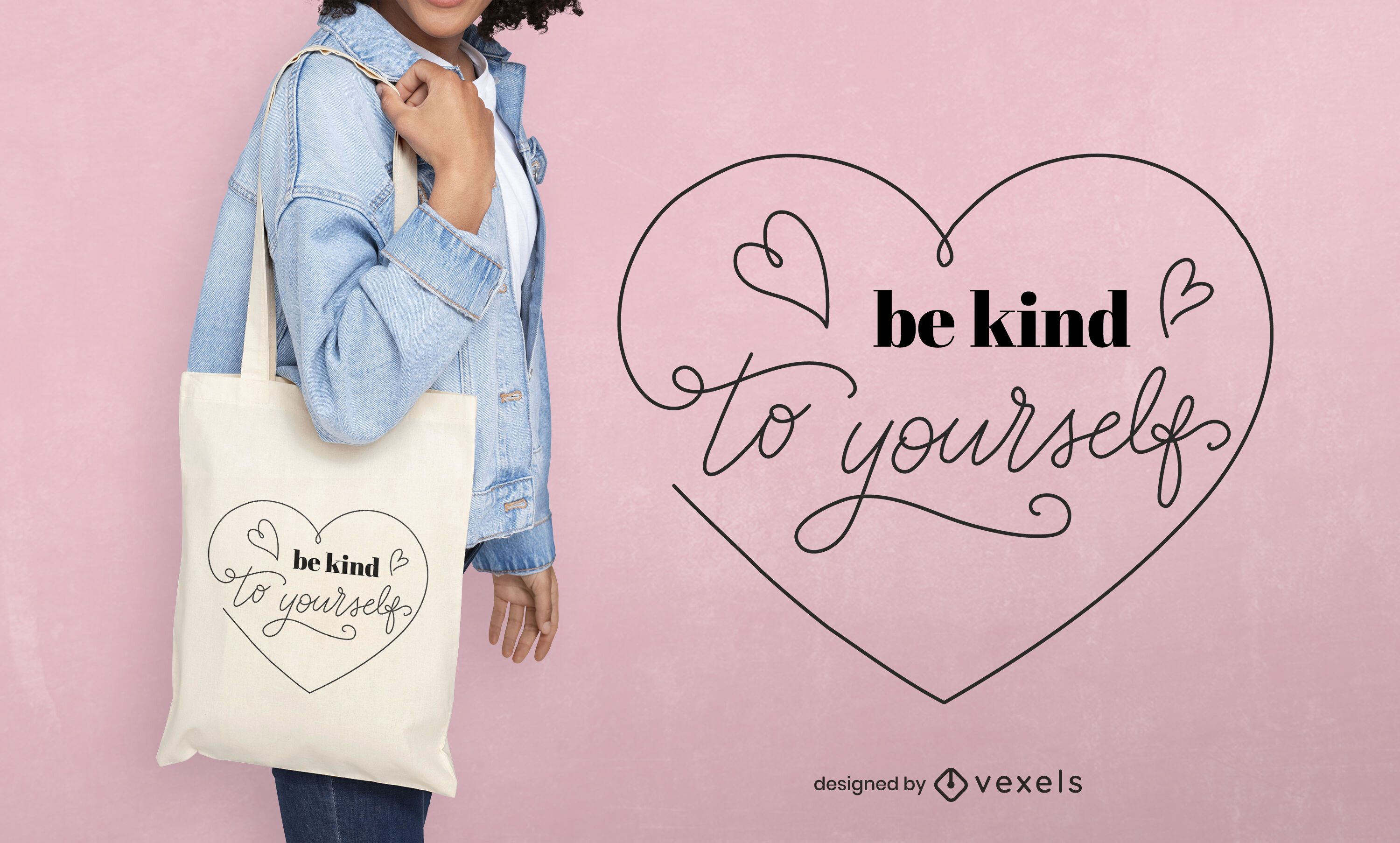 Kind to yourself tote bag design