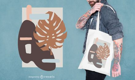 Abstract leaf tote bag design
