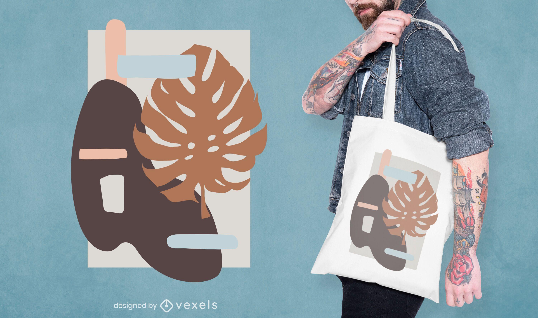 Diseño de bolso de mano de hoja abstracta