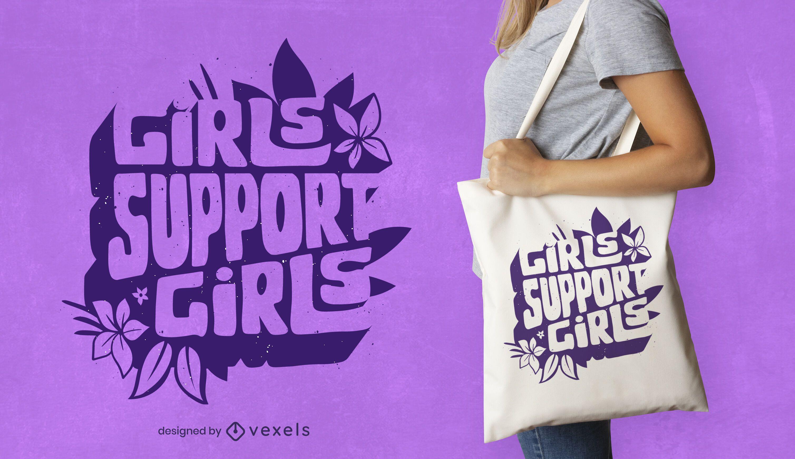 Girls support girls tote bag design