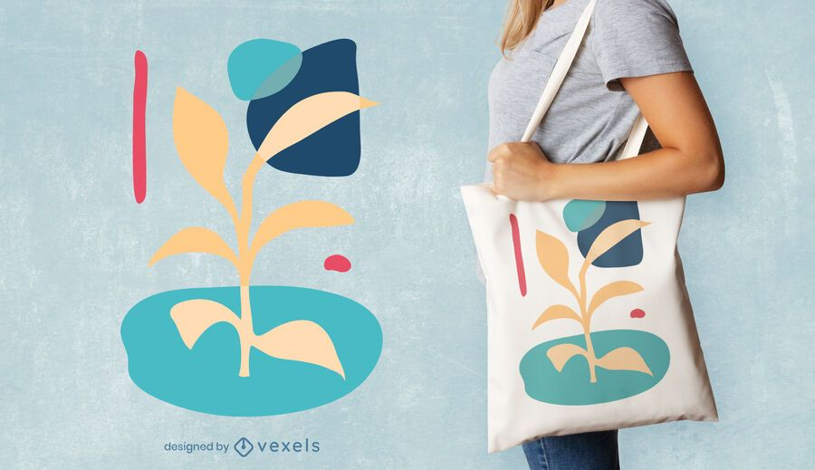 Abstract plant tote bag design