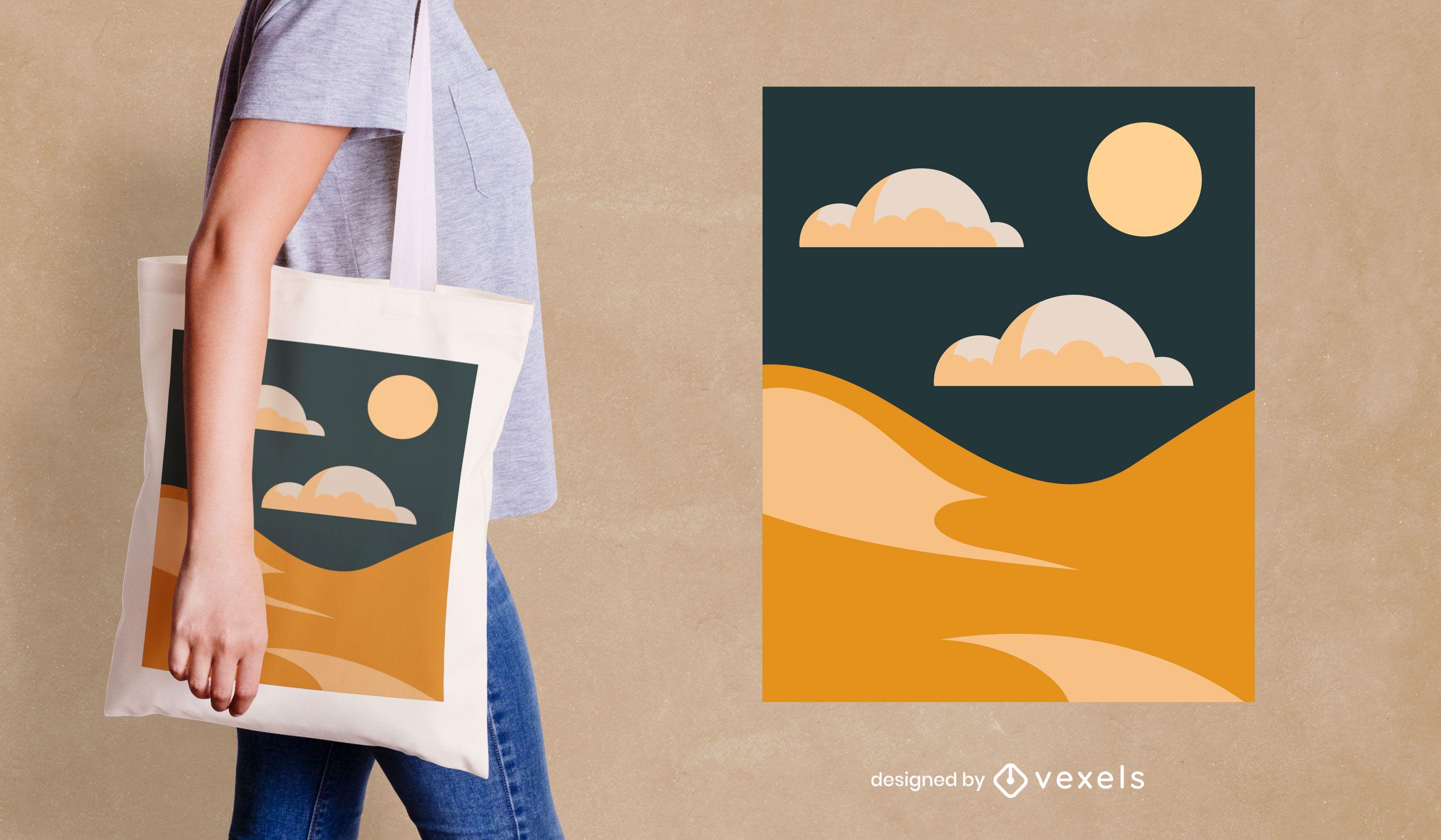 Abstract desert tote bag design