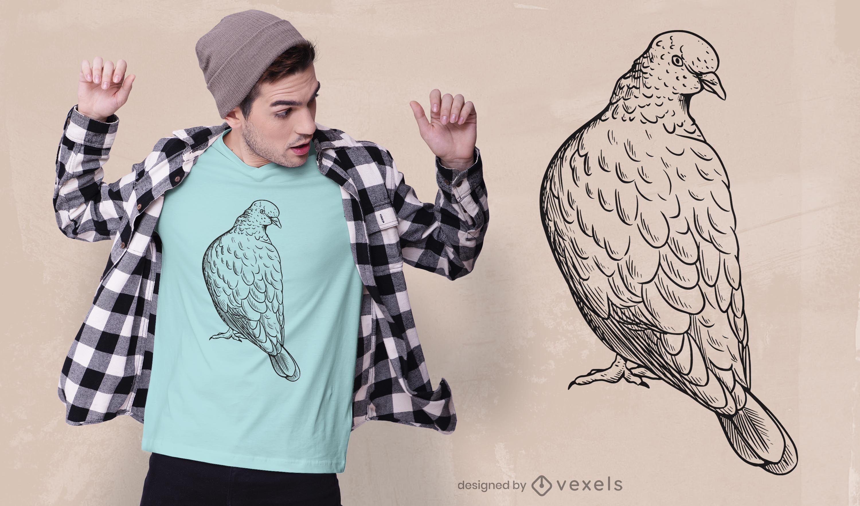 Diseño de camiseta de paloma dibujada a mano