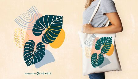 Artistic leaves tote bag design