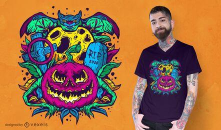 Diseño de camiseta psicodélica de halloween