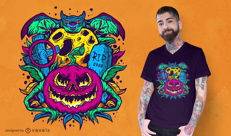 Design psicodélico de t-shirt de halloween