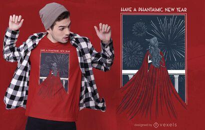 Design fantasmático de camisetas de ano novo
