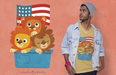 Diseño de camiseta de cachorros de león